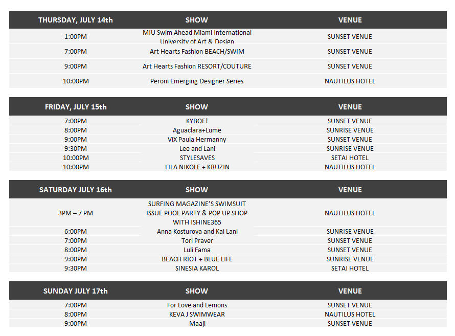 Funkshion – SWIM Week Miami Beach - Schedule and Venues